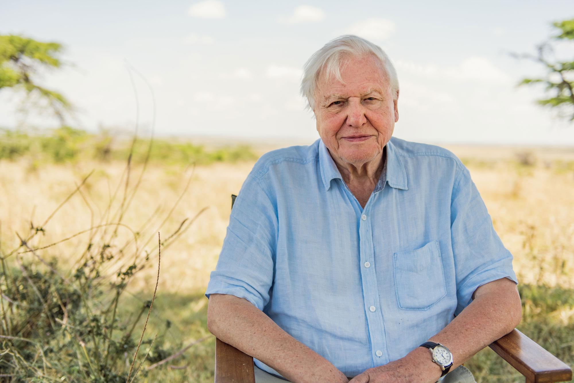 Sir David Attenborough pictured in the Maasai Mara, Kenya.